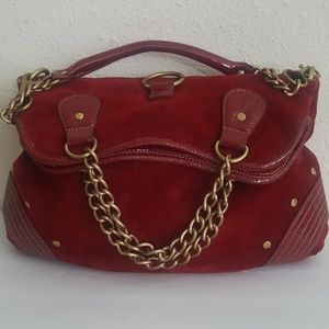 melie bianco Red Faux Suede Chain Handbag